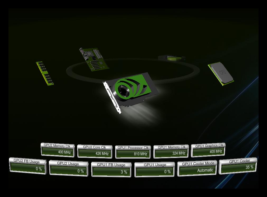 NVIDIA System Tools System Monitor полноэкранный режим