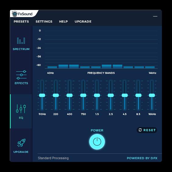 Настройка групп частот при помощи эквалайзера в FxSound Enhancer