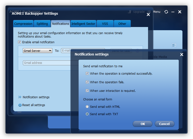 Настройка оповещений по электронной почте в программе Aomei Backupper Standard