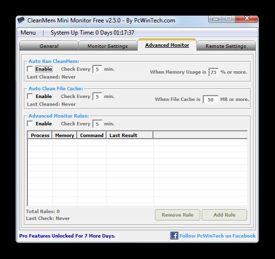 Настройки очистки оперативной памяти и системного кэша в программе Clean Mem