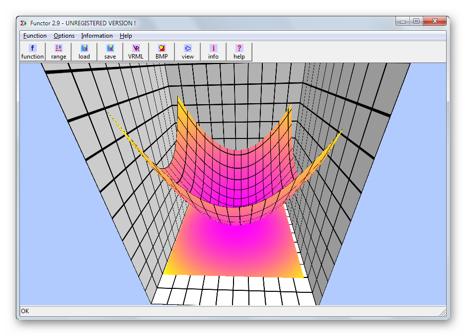 Объемный график математической функции в Functor