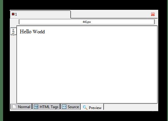 Область редактора с необходимыми вкладками в программе Kompozer