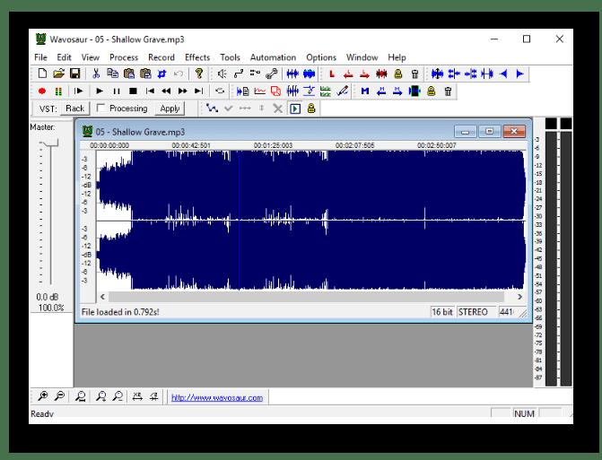 Обработка аудиозаписи в программе Wavosaur