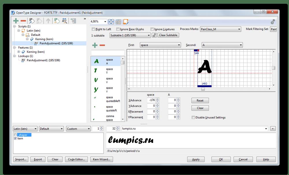 Окно более детальной информации о шрифте в FontCreator