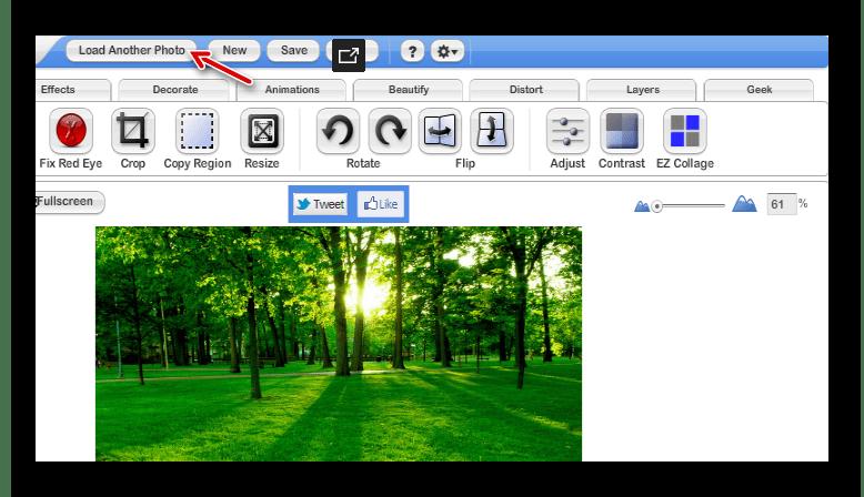 Окно онлайн-фоторедактора FotoFlexer