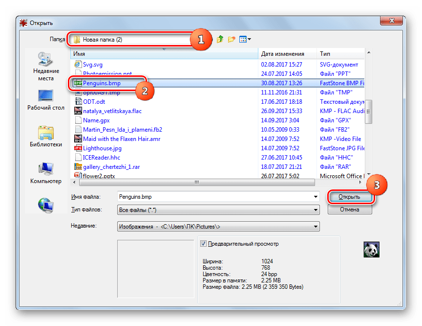 Окно открытия файла в программе IrfanView