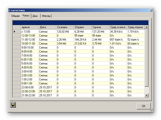 Окно с подробными отчетами об использовании глобальной сети в приложении BitMeter II