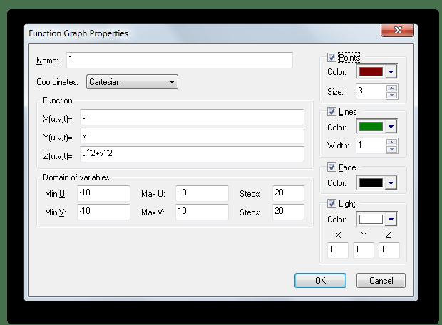 Окно свойств функции для построения графиков в 3D Grapher