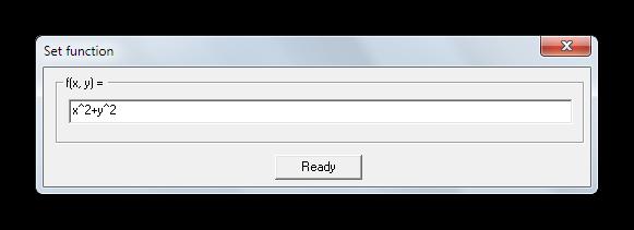 Окно ввода математической функции для построения объемного графика в Functor
