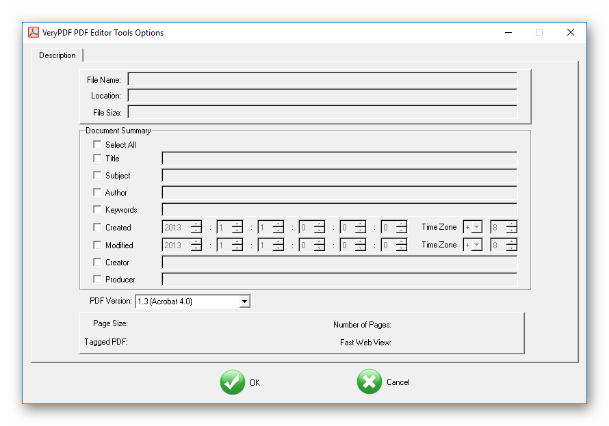 Описание в VeryPDF PDF Editor