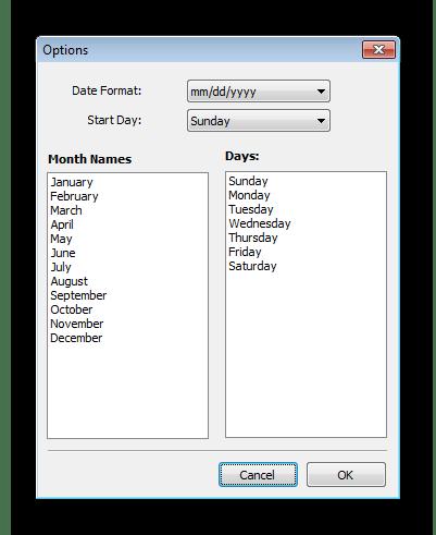 Опции CoffeeCup Web Calendar