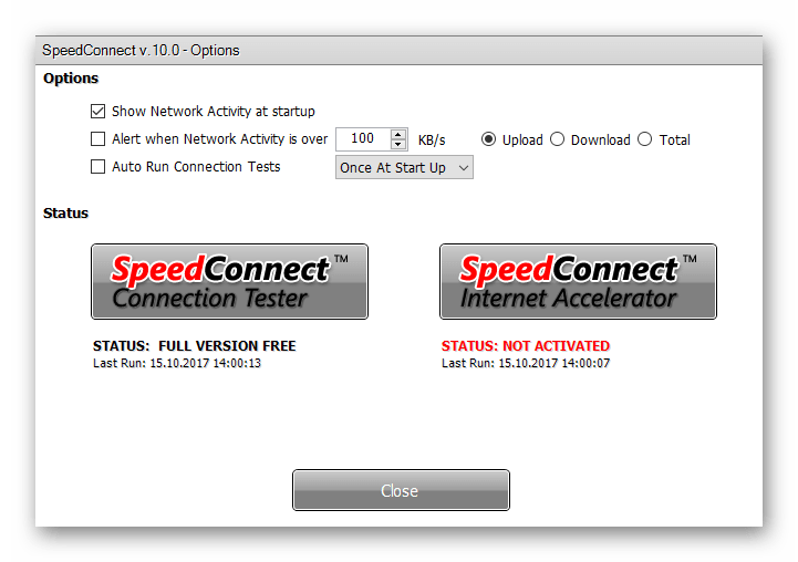 Опции в Speed Connect Internet Accelerator