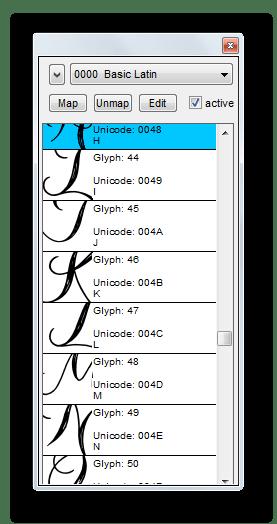 Основное окно просмотра изменений символов в процессе создания в Type