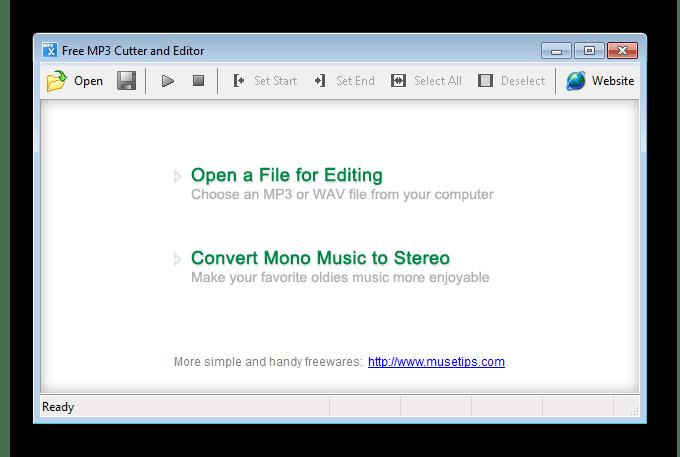 Открытие файлов Free MP3 Cutter and Editor