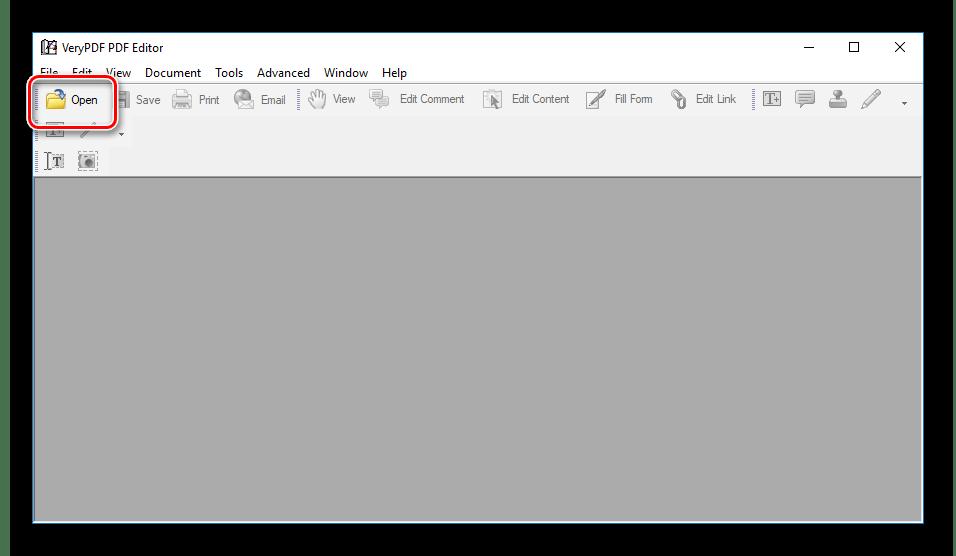 Открытие в VeryPDF PDF Editor