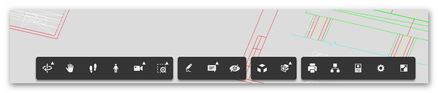 Панель инструментов на A360 Viewer