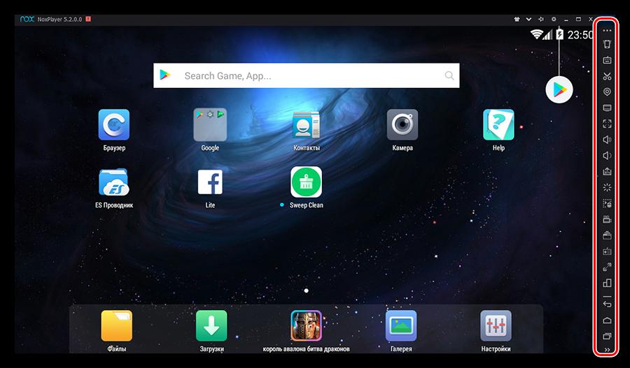 Панель настроек в стартовом окне эмулятора Nox App Player