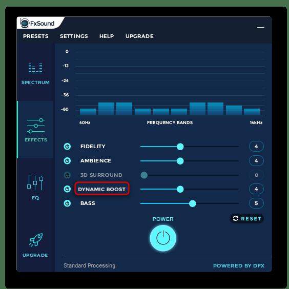 Параметр активного усиления звука в FxSound Enhancer