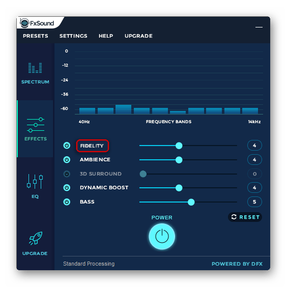 Параметр четкости звука в FxSound Enhancer