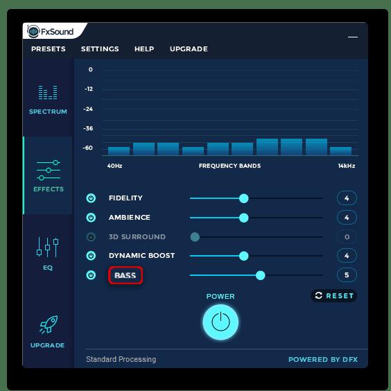 Параметр усиления низкочастотных звуков в FxSound Enhancer