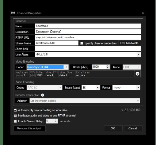 Параметры канала в рабочей области Xsplit Broadcaster