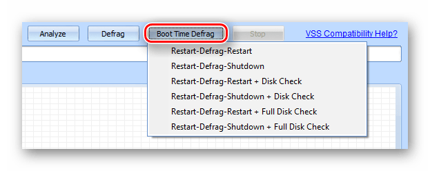 Параметры включения и выключения компьютера в процессе дефрагментации в программе Puran Defrag