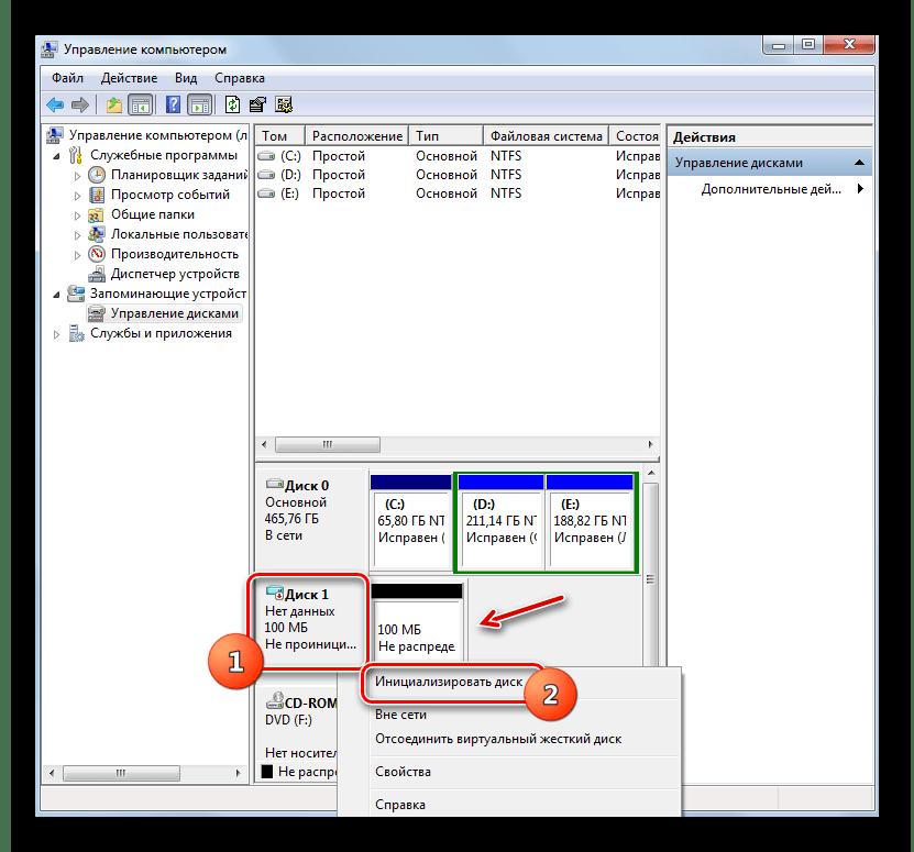 Переход к инициализации нераспределенного диска через контекстное меню в разделе Управление дисками в окне Управление компьютером в Windows 7