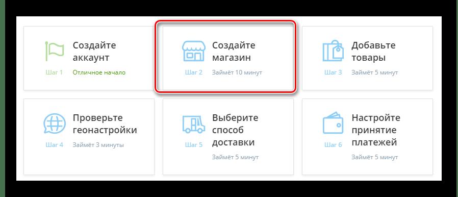 Переход к странице создания нового интернет магазина в панели управления сервиса Ecwid