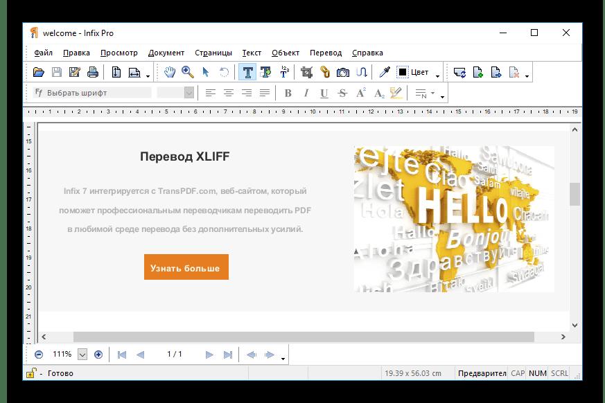 Перевод в Infix PDF Editor