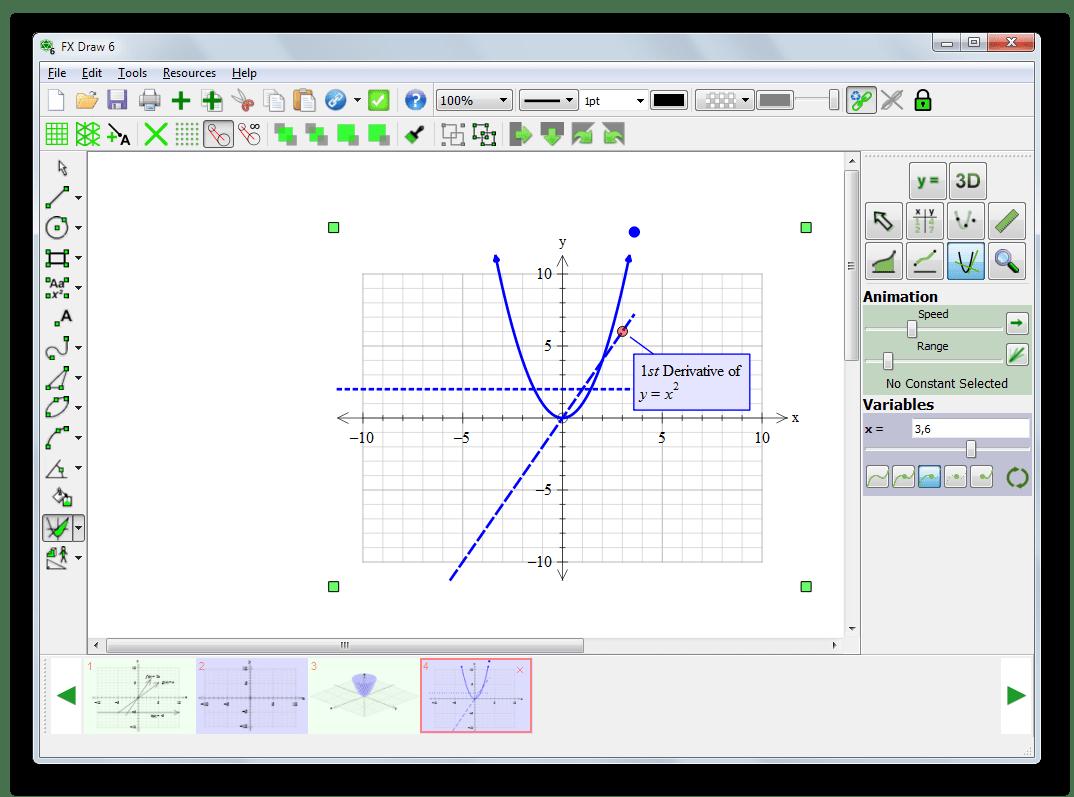 Построение графиков первой и второй производной в Efofex FX Draw