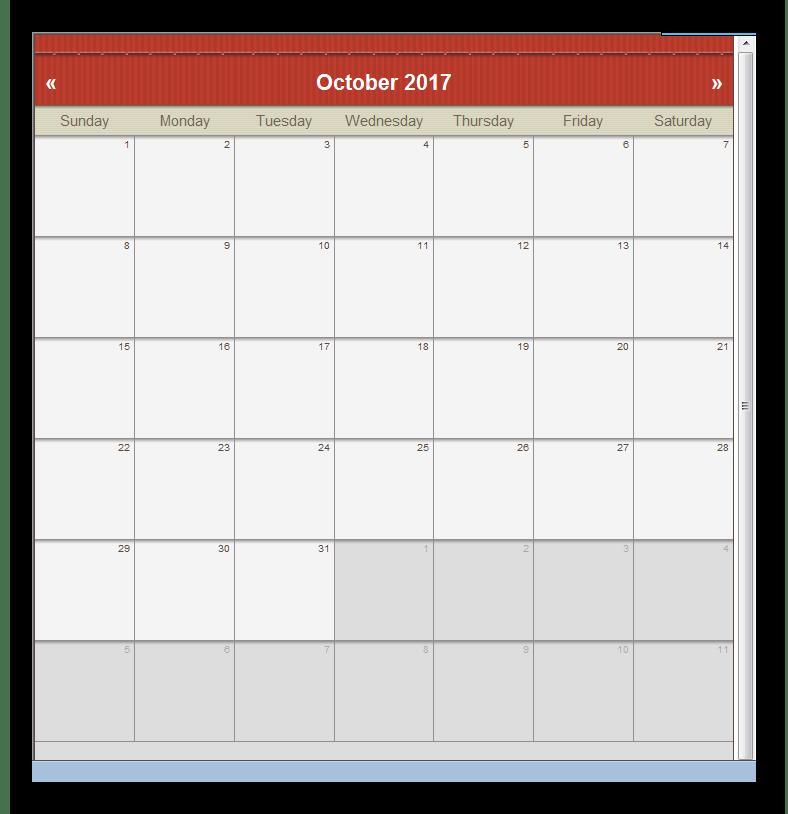 Предпросмотр календаря CoffeeCup Web Calendar