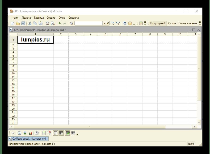 Пример открытого файла 1C