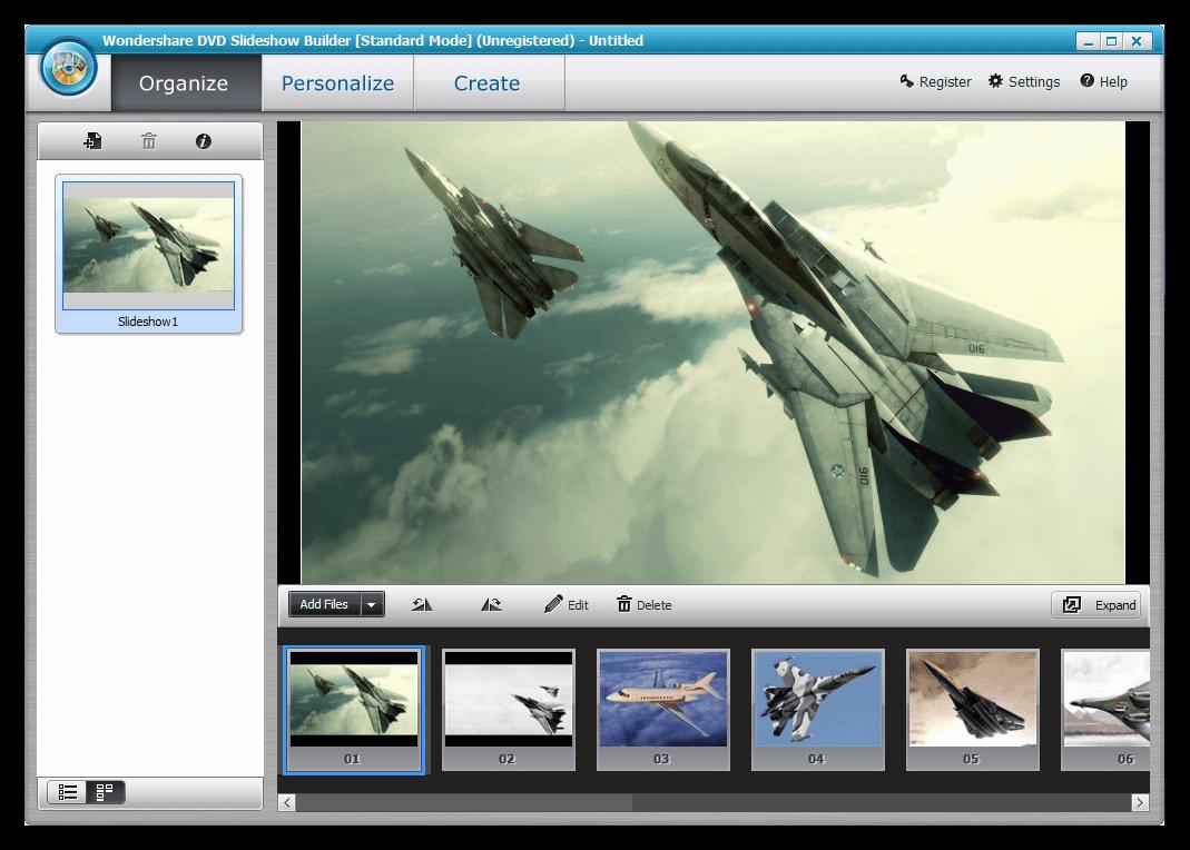 Программа для создания видео из фото Wondershare DVD Slideshow Builder