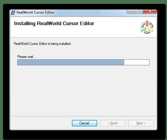Процедура инсталляции приложения в окне инсталлятора программы RealWorld Cursor Editor в Windows 7
