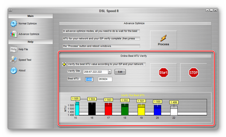Проверка MTU в DSL Speed