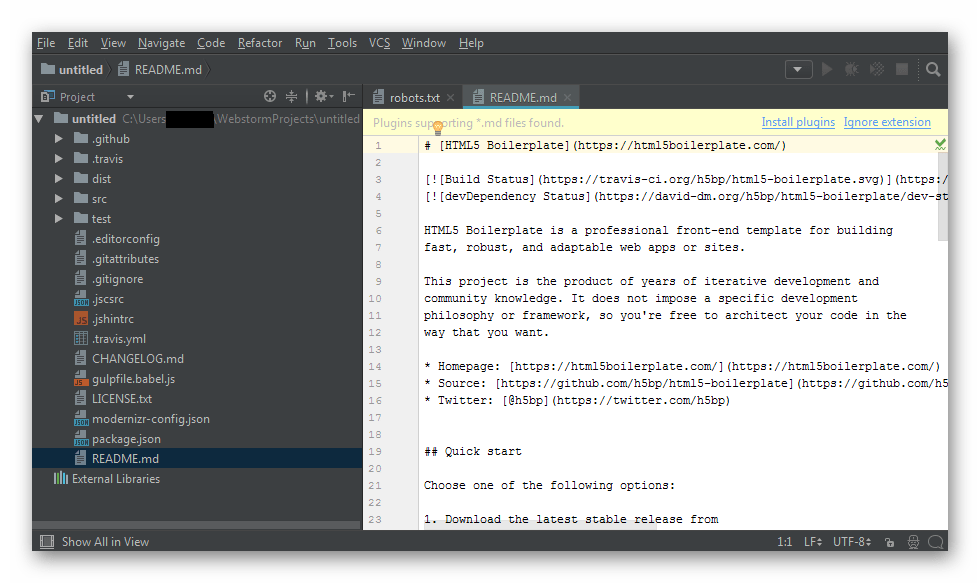 Рабочая среда редактора WebStorm