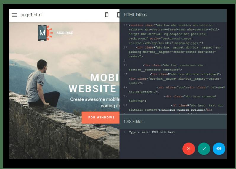 Редактирование кода в программе Mobirise