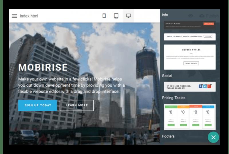 Редактирование оформления сайта в программе Mobirise