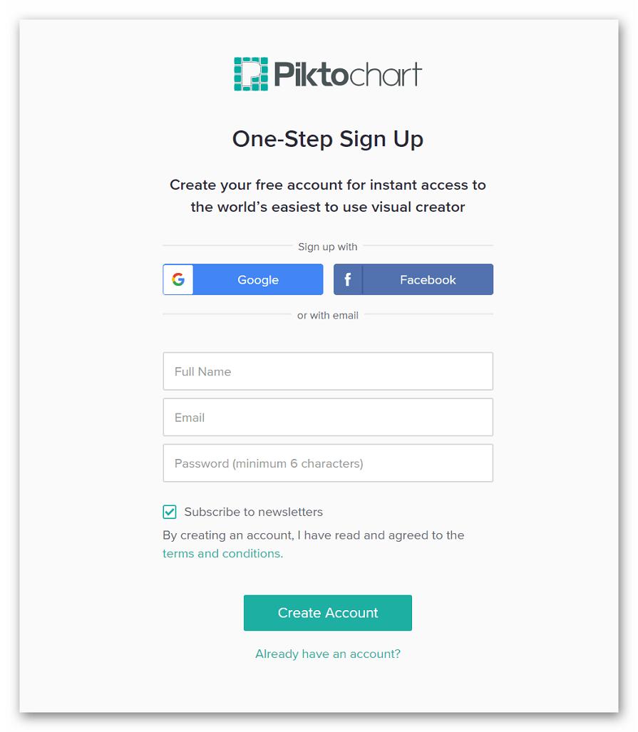 Регистрация на Piktochart