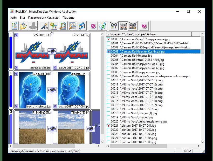 Результат поиска дубликатов в ImageDupeless