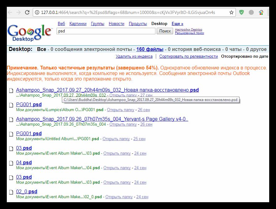 Результаты поиска в браузере в программе Google Desktop Search