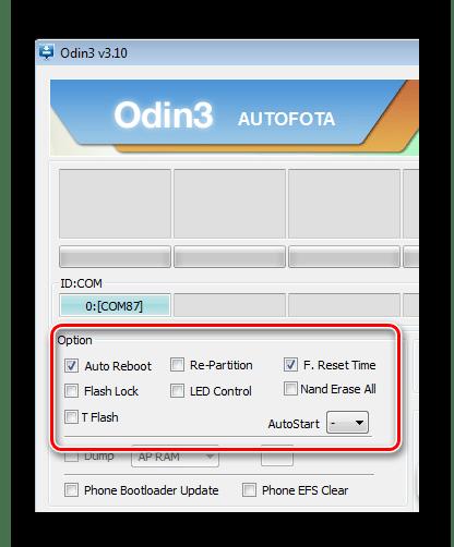 Samsung Galaxy Note 10.1 N8000 Odin однофайловая прошивка отметки в чекбоксах поля Option