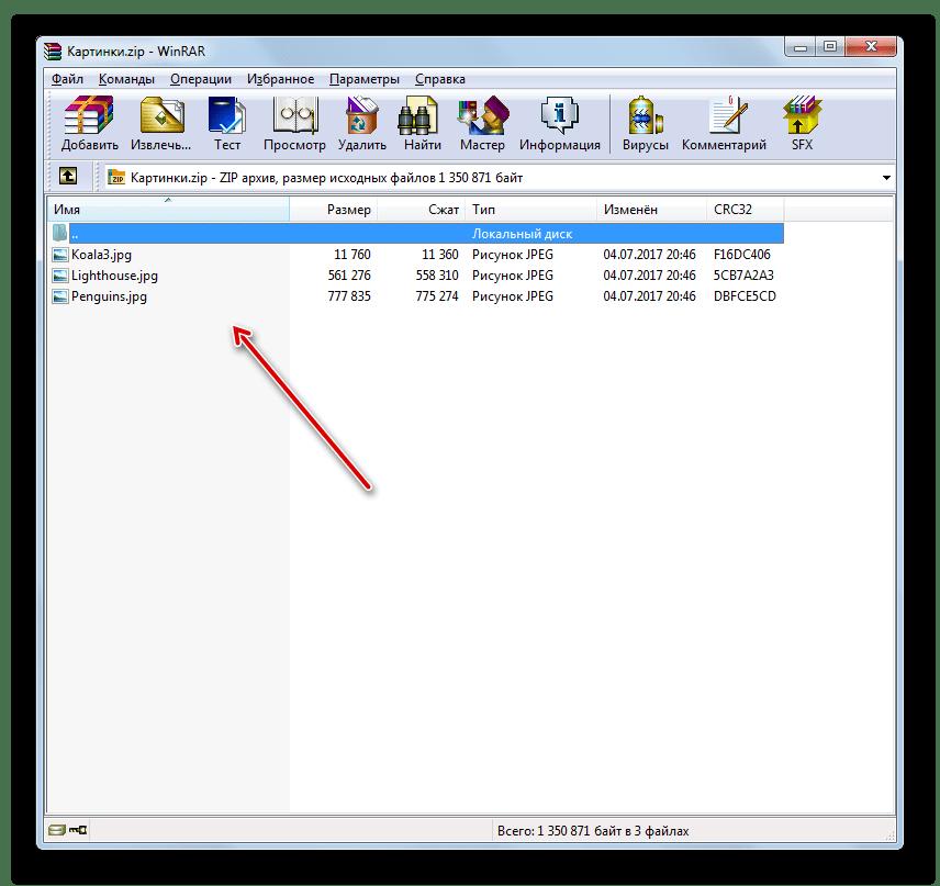 Содержимое архива ZIP отображено в виде списка в окне программы WinRAR