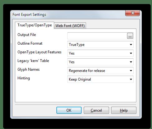 Сохранение готового шрифта в одном из распространенных форматов в FontCreator