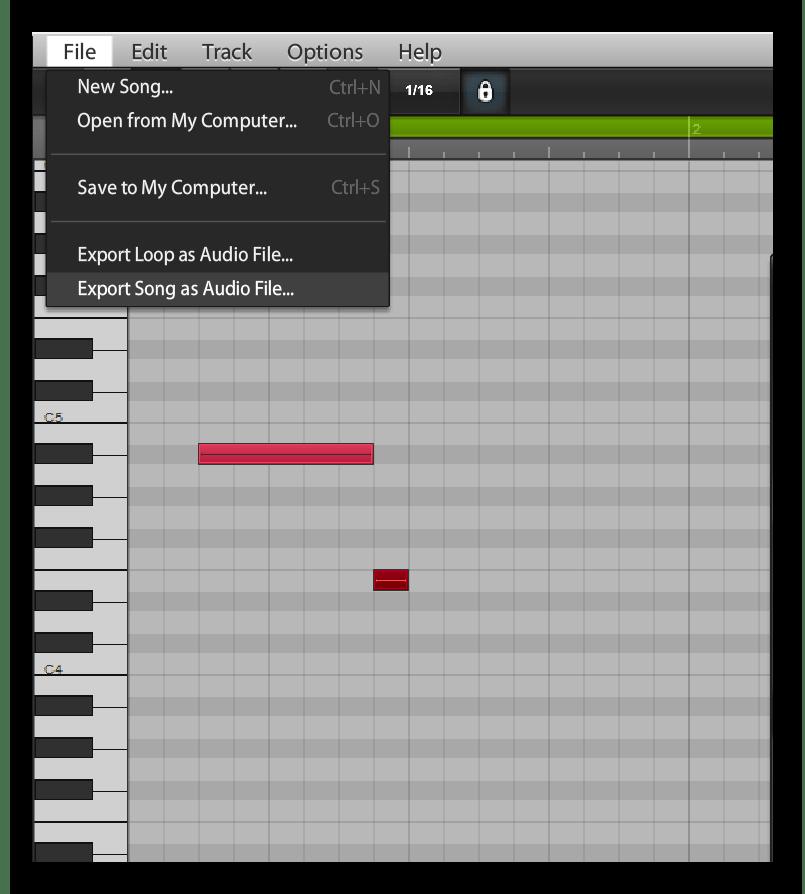 Сохранение готового трека на Audiosauna