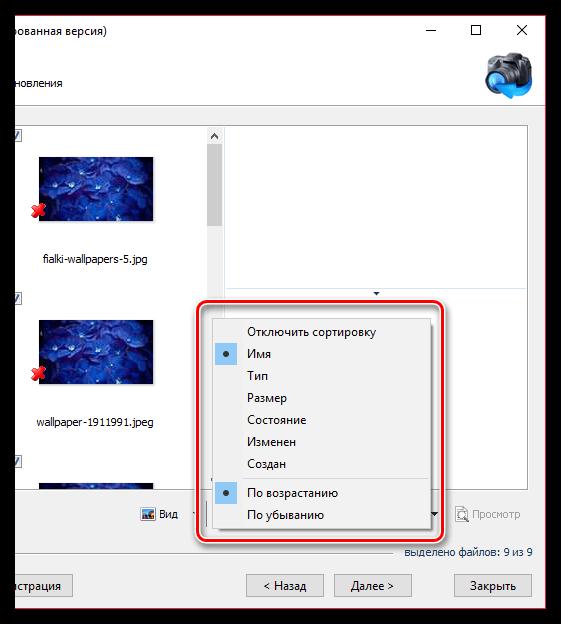 Сортировка найденных файлов в Magic Photo Recovery