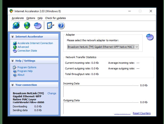 Состояние сети в Internet Accelerator