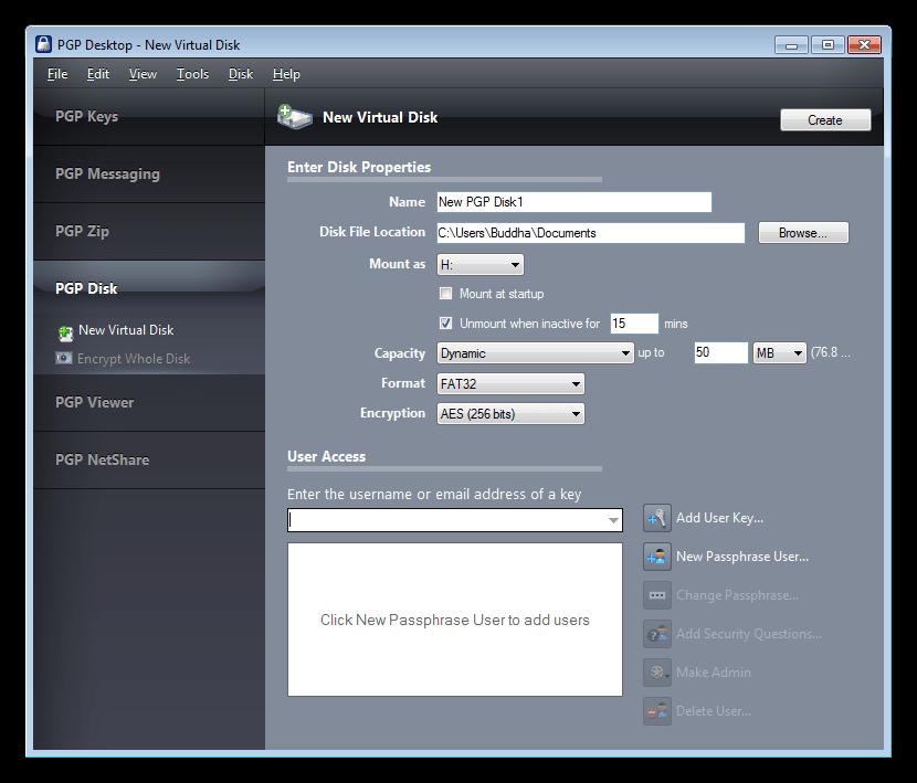 Создание виртуального диска в программе PGP Desktop