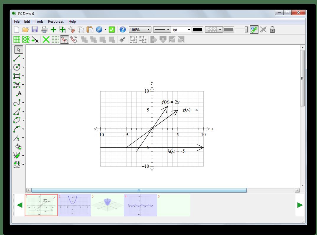 Способ построения графиков математических функций вручную в Efofex FX Draw