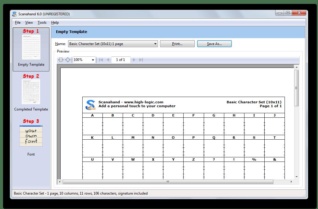Стандартная таблица для создания шрифтов в Scanahand